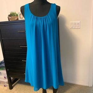 Blue Chiffon Lined Tank Dress